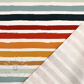 Sommersweat Colored stripes off white blue