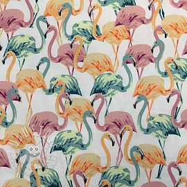 Sweatstoff Modal Flamingo white 2.Klasse