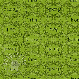 Baumwollstoff THE QUILTED COTTAGE Sewing words lime