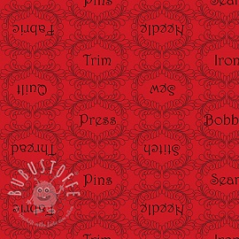 Baumwollstoff THE QUILTED COTTAGE Sewing words red