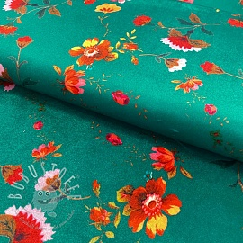 Velour Rustic flowers green