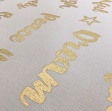 Dekostoffe Metallic words gold/white
